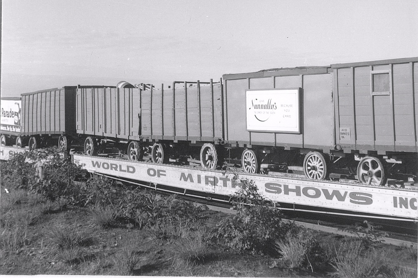 World Of Mirth wagons on the flats
