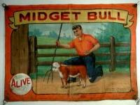 Fred Johnson Sideshow Banner Midget Bull.