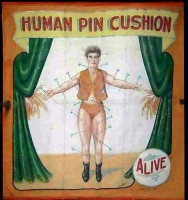 Fred Johnson Sideshow Banner Human Pin Cushion