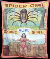 Fred Johnson Sideshow Banner Spider Girl  and Sponge Girl