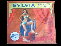 Fred Johnson Sideshow Banner Sylvia Big Footed Girl