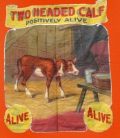 Fred Johnson Sideshow Banner Two Headed Calf